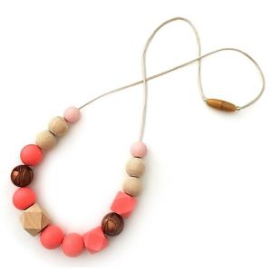 One.Chew.Three Addison Necklace - Coral