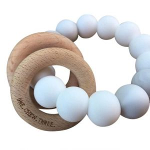 One.Chew.Three Rattle Duo Teether - White Marble