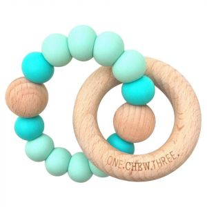 One.Chew.Three Single Rattle & Beech Wood Teether - Mint Bright
