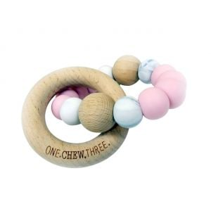 One.Chew.Three Single Rattle & Beech Wood Teether - Pink Marble