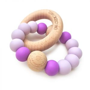 One.Chew.Three Single Rattle & Beech Wood Teether - Purple Bright