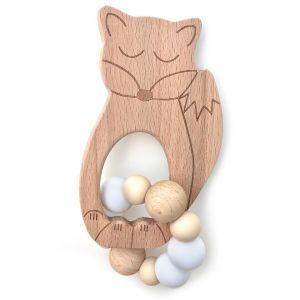 One.Chew.Three Sleepy Fox & Owl Silicone Teether - Fox, Natural White