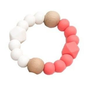 One.Chew.Three Textured Silicone Teethers - Coral/White
