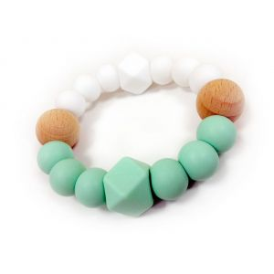 One.Chew.Three Textured Silicone Teethers - Mint/White