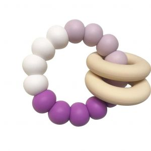 One.Chew.Three Gummi Silicone Teether - Purple