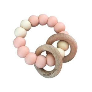 One.Chew.Three Rattle Duo Teether - Peaches & Cream