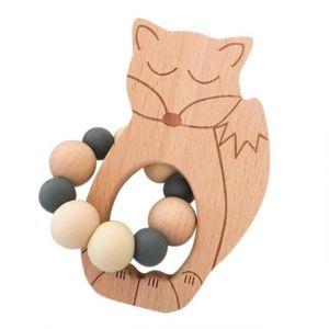 One.Chew.Three Sleepy Fox & Owl Silicone Teether - Fox, Natural Grey