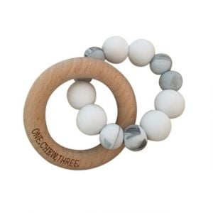 One.Chew.Three Duo Teether - White Marble