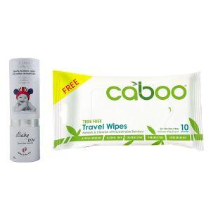 Baby Kingdom - Baby Powder 25g + Free 1pc Caboo Travel Wipes 10ct