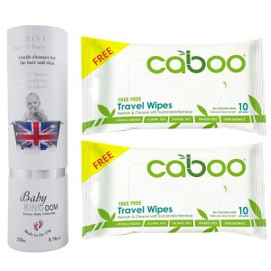 Baby Kingdom - 2-In-1 Hair & Bodywash 250ml + Free 2pcs Caboo Travel Wipes 10ct
