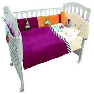 Qtot Purple Deluxe Snuggle Baby Bedding Set