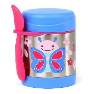 Skip Hop Blue/Pink Kid's Zoo Steel Food Jar Butterfly