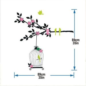 StickieArt Bird In The Cage Wall Decal - Medium - 50 x 70 cm