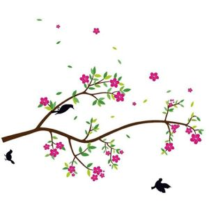 StickieArt Birds on Flower Branch - Wall Decal - Large - 60 x 90 cm