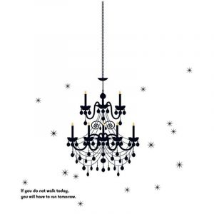 StickieArt Black Chandelier - Wall Decal - Large - 60 x 90 cm