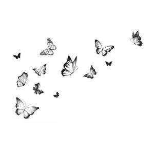 StickieArt Butterflies Black & White Wall Decal - Medium - 50 x 70 cm