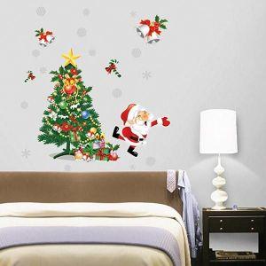 StickieArt Christmas Tree With Santa Claus Wall Decal - Medium - 50 x 70 cm
