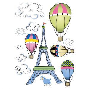 StickieArt Eiffel Tower Balloons Wall Decal - Medium - 50 x 70 cm