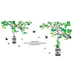 StickieArt Green Leaves Bird Cage - Wall Decal - Large - 60 x 90 cm
