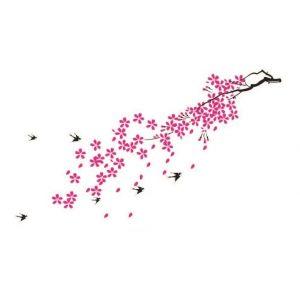 StickieArt Pink Flower Branch Wall Decal - Medium - 50 x 70 cm