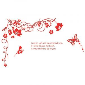 StickieArt Red Butterfly Flowers - Wall Decal - Large - 60 x 90 cm