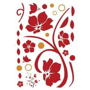 StickieArt Red Floral Wall Decal - Medium - 50 x 70 cm