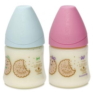 Suavinex Wide Neck Bottle 150ml Anat Silicone Teat S1M 0-6m Biscuit 1pc