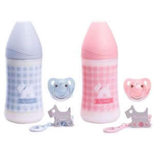 Suavinex Wide Neck Bottle PP 270ml S1 Anatomical Teat + Evo Soother 0-6m + Clip Scottish 1pc-set