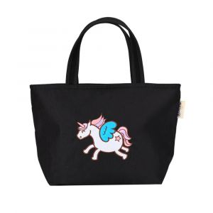 Sunveno Embroidery Unicorn Black Insulated Lunch Bag
