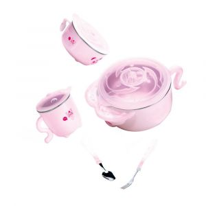 Sunveno Pink Insulated Stainless Steel Feeding Set