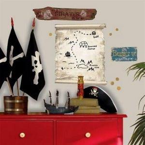 Room Mates Pirates Map Dry Erase Wall Decal