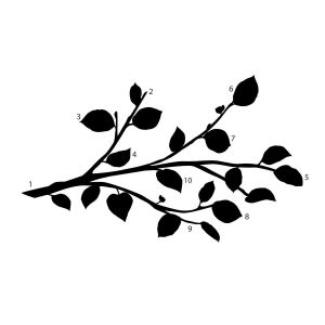 Room mates Modern Black Branch Peel & Stick Wall Decals With Bendable Flower Mirrors