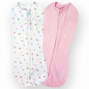 Summer Infant Pink/White 2 Pk Swaddlepod - Bows