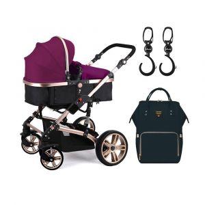 Teknum Wine 3 in 1 Pram Stroller with Sunveno Black Diaper Bag & Hooks