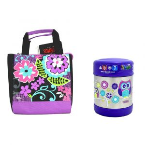 Thermos- Funtainer Food Jar 290Ml, Owl + Thermos-Black Floral Lunch Kit