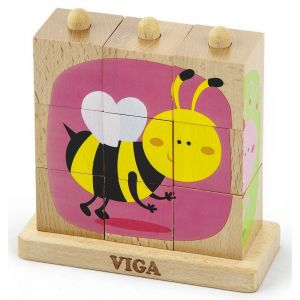 Viga Wooden Stacking Cube Puzzle