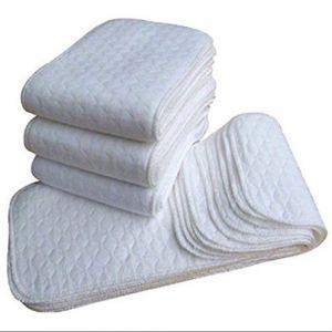 VWH Reusable Baby Cloth Diaper Liners - White, 10 Pcs