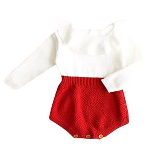 Warm & delicate knitted outfit Red