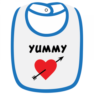 Twinkle Hands White/Blue Yummy Baby Bib