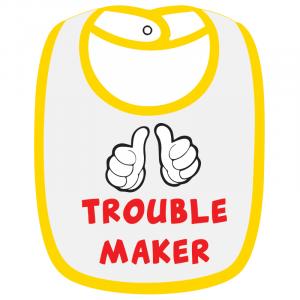Twinkle Hands White/Yellow Trouble Maker Baby Bib