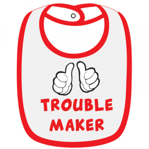 Twinkle Hands White/Red Trouble Maker Baby Bib