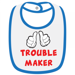 Twinkle Hands White/Blue Trouble Maker Baby Bib