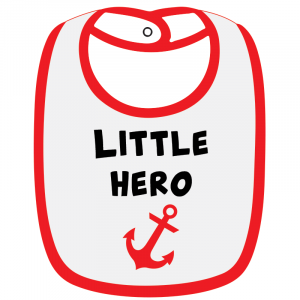 Twinkle Hands White/Red Little Hero Baby Bib