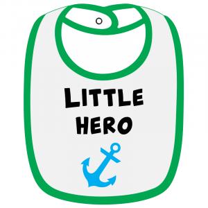 Twinkle Hands White/Green Little Hero Baby Bib