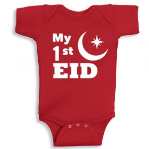 Twinkle Hands My First Eid Baby Onesie - Red