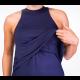 Mama Basic - Double Layer Long Maternity & Nursing Dress - Navy