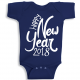 Twinkle Hands Happy New Year 2018, Dark Blue Baby Onesie, Bodysuit, Romper