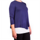 Mama Basic - Double Layer Maternity & Nursing Top- Navy And Cream