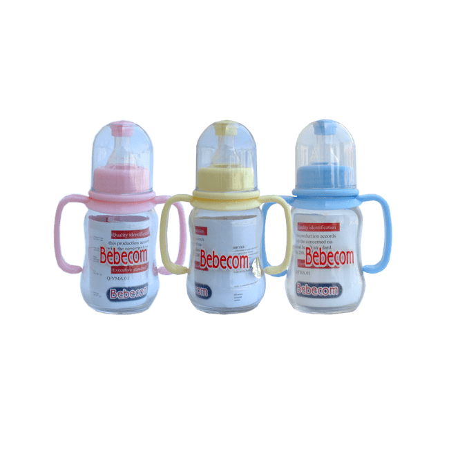 Bebecom - Glass Baby Feeding Bottle With Handle 125ml - Assorted Colours