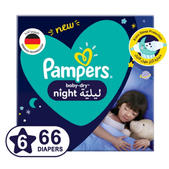 Pampers - Baby-Dry Night Diapers, size 6, 14+kg - 66 Count